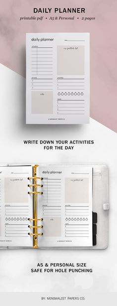 Daily Planner Productivity Insert, Daily Planner Pages, Productivity Planner, Student Planner - A5 & Personal Size For Individual Who Loves Minimalistic And Clean Design, Instant Download! #dailyplanner #productivityplanner #dailyagenda #dailyschedule Planner Dividers, Planner Inserts, Daily Agenda, Daily Planner Pages, Arc Notebook, Silhouette Cameo Tutorials, Printable Planner, Printables, Student Planner