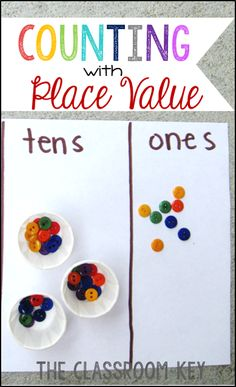 Counting with Place Value, using manipulatives with counting to develop a strong understanding of place value, a fun activity for first and second grade students Teaching Place Values, Teaching Numbers, Math Numbers, Teaching Math, Teaching Ideas, Teen Numbers, Decomposing Numbers, Classroom Tools, First Grade Classroom