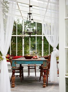 Charming Summer House // Conservatory windows and curtains