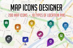 Map Icons Designer by Web Icon Set on Creative Market