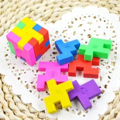 Rubiks Cube Cute Puzzle Erasers Novelty Fun Kids Rubbers Party Gift Bag Fillers