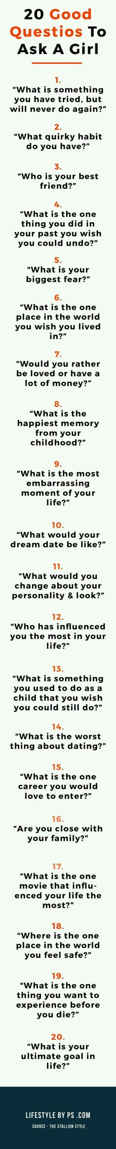Questions To Ask A Girl You Want To Impress 20 Good Questions To Ask A Girl - Learn how I made it to in one months with e-commerce!<br> Look smart and impress a girl you like. Questions For Girls, Fun Questions To Ask, This Or That Questions, Flirting Tips For Girls, Flirting Quotes For Him, Conversation Starter Questions, Conversation Topics, Flirting Texts, Flirting Humor