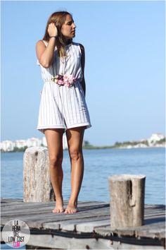La Reina del Low Cost | tu blog de moda real. Stripes romper+flowers belt. Summer outfit 2016