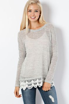 SWEET TEMPTATION Gray Lace Tunic Top Dress Shop Simply Me Boutique SMB – Simply Me Boutique