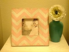 Chevron Stripe Picture Frame in pale pink and by StellabytheSea, $18.00