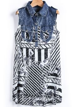 Blue Denim Contrast Chiffon Striped Blouse US$24.80