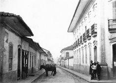 Rua São Bento em 1862, vista da esquina da Rua do Ouvidor, atual José Bonifácio