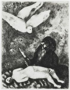 Abraham is going to sacrifice his son according to the order of God (Genesis, XXII, 9 14) by @artistchagall #naïveart