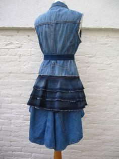 Denim Dress Tailcoat with matching Belt by ROCKchickHIPPIEchick