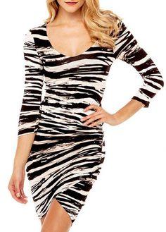 Glamorous Scoop Neck Long Sleeve Woman Bodycon Dress | Rosewe.com