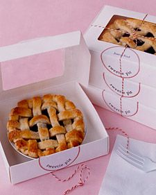 Send guests home with sweet memories and even sweeter treats in the form of miniature cherry pies. Enlist the help of friends who bake, or have a bakery make them. To personalize the packaging, print or photocopy a message or the bride's and groom's names onto self-adhesive labels.