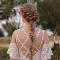 Dutch braids into a bubble fishtail, inspired by @braidsbyjordan ❤️