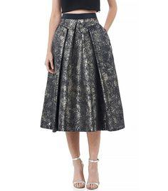 Rebecca Taylor Foil Matelassé Midi Skirt in Thunder