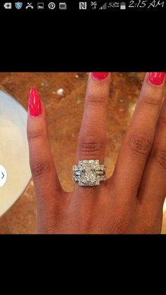 Love the engagement ring but the double diamond band either side makes it look ostentatious. One diamond band is enough with a ring that size. Diamond Rings, Diamond Jewelry, Jewelry Rings, Fine Jewelry, Jewellery, Solitaire Rings, Halo Rings, Dream Engagement Rings, Dream Ring