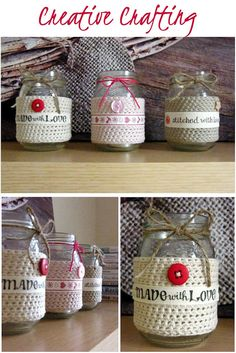 Annie's Place: Crafty crochet quickie...cute way to decorate jars....free pattern!
