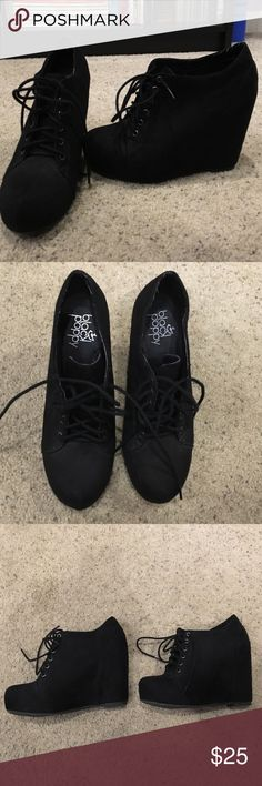 Black suede lace up wedges In great condition, only worn a couple times. Black Poppy Shoes Wedges