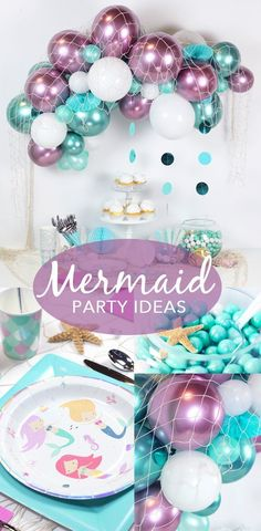 all white party Mermaid Birthday Party, Fun girls birthday party idea! This mermaid party has us swimming with delight! It features oceany blues and greens with pops of white and purple Mermaid Party Decorations, Mermaid Parties, Birthday Party Decorations, Mermaid Theme Birthday, Little Mermaid Birthday, Mermaid Themed Party, 6th Birthday Parties, 4th Birthday, Birthday Ideas