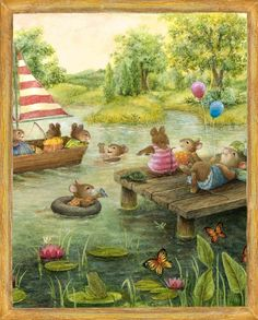 Little mice having a day at the pond. :) (Artist: Susan Wheeler.)