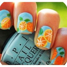 Summer nails blue with oranges #Nails #Summer