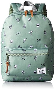 "Herschel Supply Co. Settlement Kids Backpack, Desert Island Green/Reflective  Kids' backpack featuring zippered outer pocket, locker loop, and padded shoulder straps This is Kids bag sized for ages 3 - 6 The dimensions are: 13.25"" (H) X 9.5"" (W) X 3.75"" (D)"