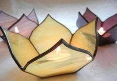 Handmade Stained Glass Lotus Votive Candle Holder #StainedGlassVitrales #StainedGlassLight Stained Glass Lamp Shades, Stained Glass Light, Stained Glass Ornaments, Stained Glass Designs, Stained Glass Panels, Stained Glass Projects, Stained Glass Patterns, Leaded Glass, Mosaic Glass