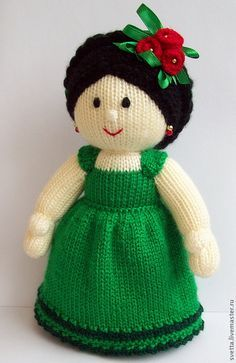 """Купить """"Кукла Фрида"""" вязаная игрушка - кукла, вязаная кукла, девочка, платье, авторская работа ♡"""