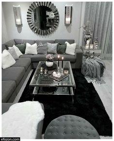Silver Living Room, Living Room Mirrors, Living Room White, White Rooms, Cozy Living Rooms, New Living Room, Living Room Modern, Apartment Living, Living Room Designs