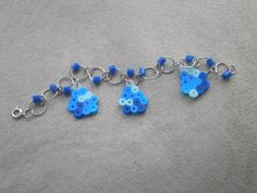 Minecraft Diamond Bracelet, blue perler beads, jump ring, birthday.