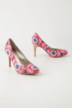 Windowbox Heels, pink heels with flowers in rose, white, and royal blue, wood heels, from Anthropologie