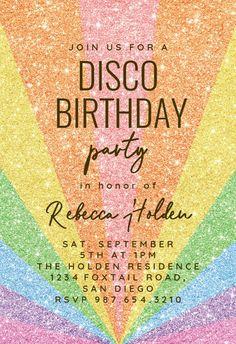 Rainbow Glitter - Birthday Invitation #invitations #printable #diy #template #birthday #party