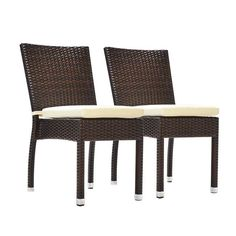 Jersey Synthetic Rattan Wicker Outdoor Dining Side Chairs (Set Of 2)  (Espresso)
