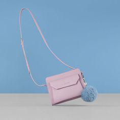 Crossbody bag, Mademoiselle Karine, Lancaster Paris. #bag #shoulderbag #crossbodybag #sac #besace #parme #mauve #rosequartz #serenity #blue #pastel #pompom #pompon #heart #keyring #lancaster #lancasterparis