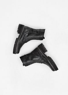 Totokaelo - Ann Demeulemeester Black Lace Up Boot