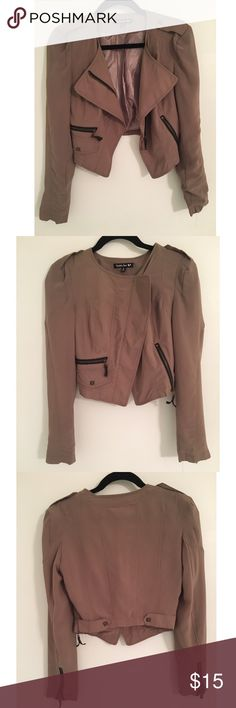 Boutique moto cropped jacket size small Moto jacket very light material. Khaki tan color. In perfect condition except I did remove the shoulder pads. Only worn twice. Size small Double Zero Jackets & Coats Blazers