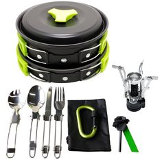 $24.99 17Pcs Camping Cookware Mess Kit (4 COLORS: GREEN, ORANGE, BLACK, BLUE) Backpacking Gear & Hiking Outdoors Bug Out Bag Cooking Equipment Cookset | Lightweight & Durable Pot Pan Bowls Gold Armour