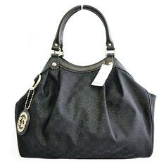 Gucci Black Leather and Canvas GG Logo Medium Sukey Handbag