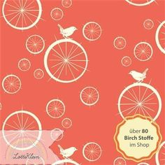Birch Fabrics Jersey Stoff Vogel Fahrrad rot coral von LottiKlein auf DaWanda.com
