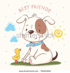 Cute puppy and duckling cartoon hand drawn vector illustration. Can be used for t-shirt print, kids wear fashion design, baby shower invitation card. Illustrator, Baby Shower Invitation Cards, Baby Dogs, Portfolio, Cute Illustration, Cartoon Drawings, Kids Wear, Cute Puppies, How To Draw Hands