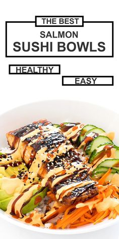 These Salmon Sushi Bowls have all of the flavors you love about a sushi roll all piled up into a bowl and drizzled with spicy mayo and eel sauce! Salmon Recipes, Seafood Recipes, Asian Recipes, Cooking Recipes, Healthy Recipes, Easy Sushi Recipes, Healthy Sushi Rolls, Healthy Sauces, Seafood Dishes