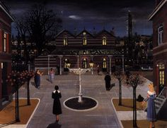 Small square station - Paul Delvaux - WikiArt.org
