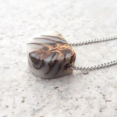 Pinecone heart in white Eco resin, necklace - Hidden Garden jewelry #sustainable #nature