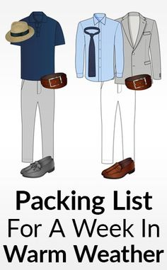 Taking a vacation to the beach? This post features packing tips for men traveling to a warm-weather place for a week. Be stylish and comfortable in hot weather. Vacation Packing, Packing List For Travel, Packing Lists, Travel Tips, Sharp Dressed Man, Well Dressed Men, Real Men Real Style, Travel Wardrobe, Men's Wardrobe