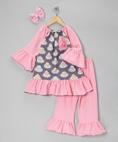 Take a look at this Pink Cupcake Lover Tunic Set - Toddler & Girls by Million Polkadots on #zulily today!