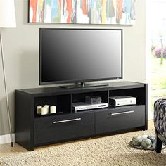 Pemberly Row 36 TV Stand in Black with 2 Cabinets