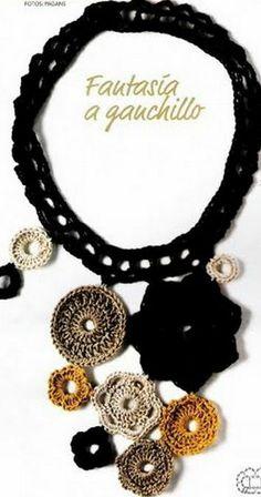 Crochet motif shapes necklace