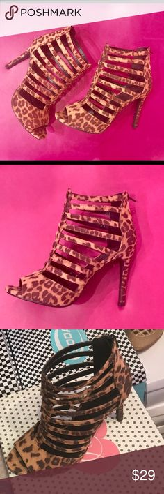 """👠 Animal Print low stiletto HEELS 👠 Nubuck suede Sexy Strappy """"not too high"""" stiletto heels. Zipper on back of heel. Great for date night, clubbing or a Halloween costume accent!  Heels run 1/2 size big, size down ⬇️ Shoes Heels"""
