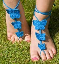 I have created another pattern for Barefoot Sandals. This one has 7 different designs. The first pattern is simple and understated. This one is bold and colourful!