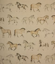 The perfect fabric for horse lovers. The Gallops fabric has horses printed all over it and is made from a linen and cotton mix. Great as a curtain material, it would also make smart roman blinds. Why not take advantage of our made to measure service and have your curtains and blinds professionally made and handfinished in our Cotswold workroom.