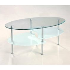 "38"" Oval Multilevel Glass Coffee Table by Home Accent Furnishings. $84.99. Sparkling, chrome-finished steel legs. Beveled, tempered safety glass, top shelf is 8mm thick, lower are 6mm. Oval-shape with distinct curving lines. Ships ready-to-assemble with necessary hardware and tools. Beautiful, frosted finish on lower shelving. This stylish, contemporary coffee table features distinctive curved lines and frosted lower shelving. Three levels of glass combined with brilli..."