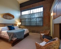 Asian Bedroom Idea In Denver With Gray Walls Carpet And A Standard Fireplace Mdash Nbsp Bamboo Headboard, Bamboo Blinds, Asian Bedroom, Blue Throws, Coastal Bedrooms, Wall Carpet, Concrete Wall, Contemporary Bedroom, Grey Walls